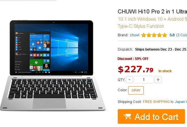 CHUWI Hi10 Pro 2 in 1 Ultrabookをギアベストで発注