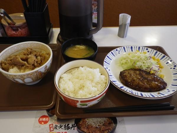 牛丼 ハンバーグ定食