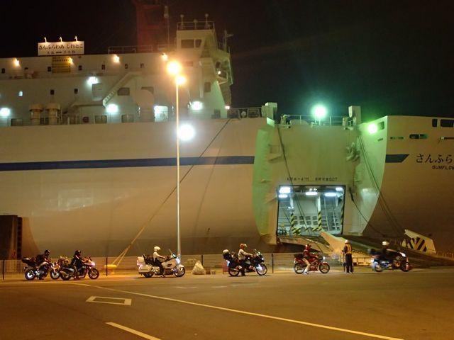 バイクの乗船