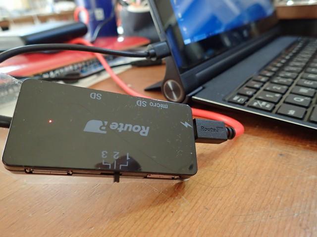ルートアール 充電可能OTG SDカードリーダー付き2ポートUSBハブ