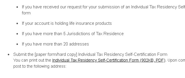 Individual Tax Residency Self-Certification Form