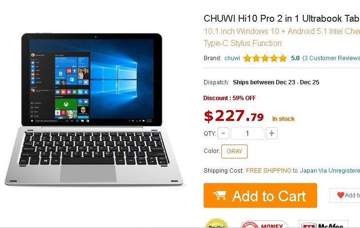 WinタブレットPC CHUWI Hi10 Pro 2 in 1 Ultrabookをギアベストで発注した【人柱上等】