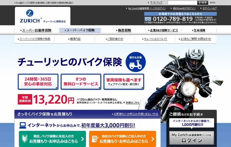 250ccバイク|任意保険を比較でチューリッヒが最安値の件