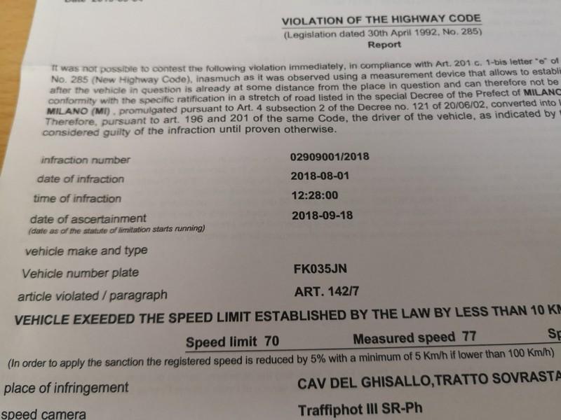 イタリアレンタカー/スピード違反罰金をウェブ/カードで支払った件